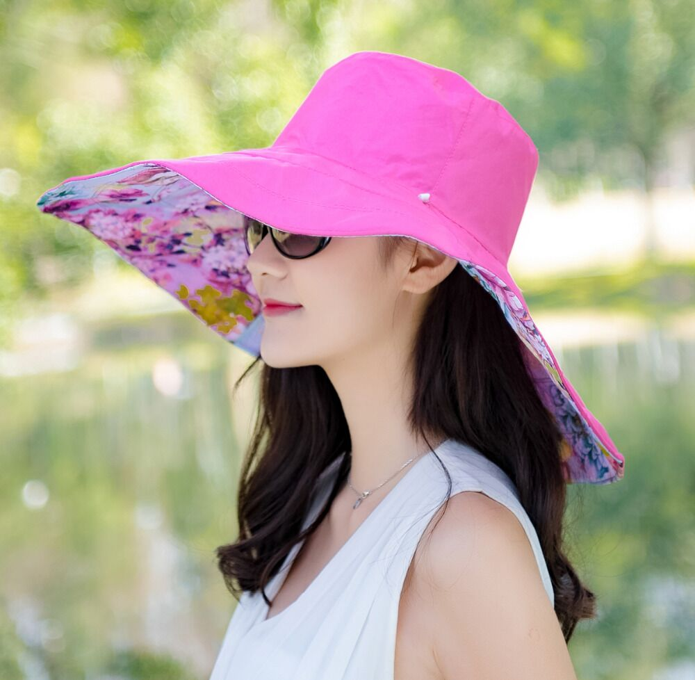 3bcb15894 US $13.31 |jiangxihuitian Brands 2018 summer new Packable Extra Large Brim  Floppy Sun Hat Reversible UPF 50+ Beach Sun Bucket Hat -in Sun Hats from ...