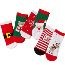 1 Pair Socks Christmas Style Pattern Thicken Breathable For Children Autumn Winter Random