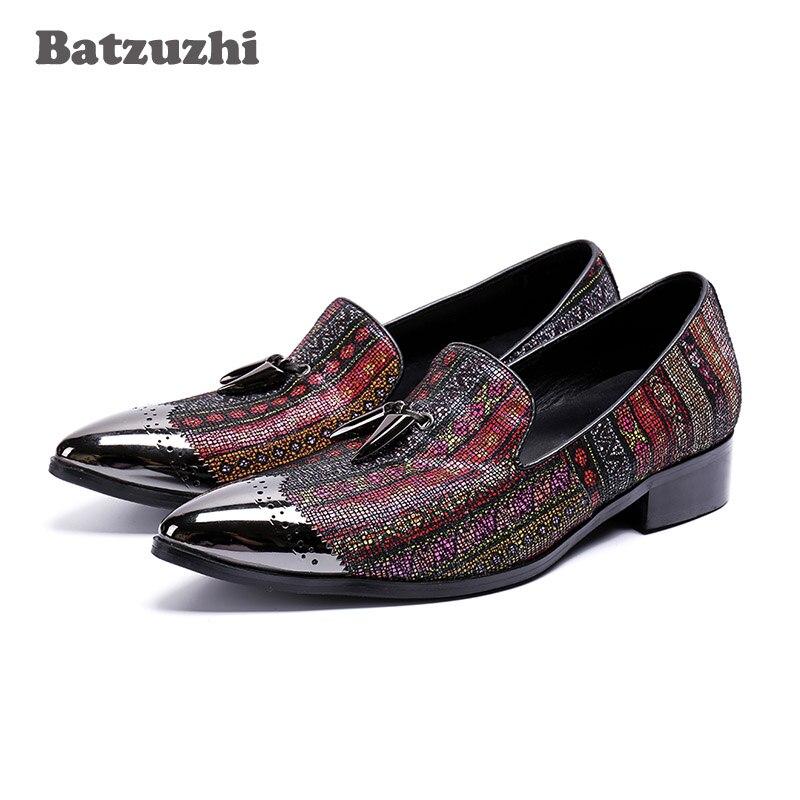 Здесь продается  Batzuzhi Handmade Party Men Shoes Oxfords Color Crystal Dress Shoes Men Flats Oxfords with Metal Tassels Wedding Shoes Men, US12  Обувь