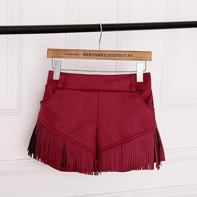 2016 chegada nova marca de moda camurça borla Shorts Shorts com bolsos de calças curtas Casual feminino fino
