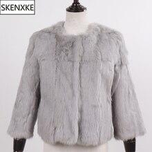 Nova chegada estilo curto senhora 100% natural coelho casacos de pele inverno quente coelho casacos de pele das mulheres magro real coelho casacos