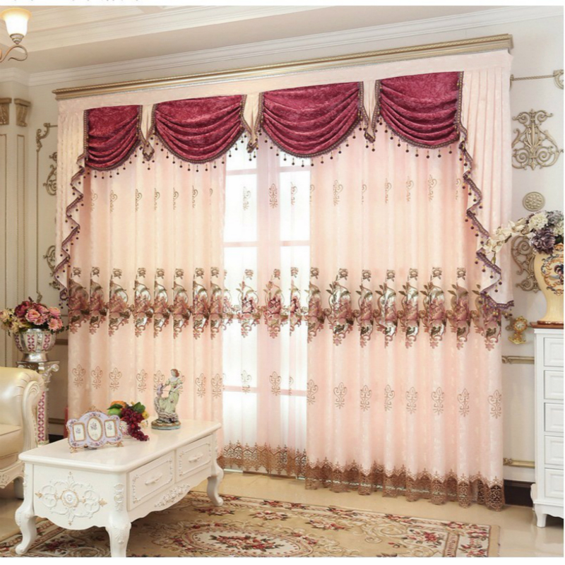 Curtain Pink Gold Brown Embroidered Beads Curtains for Living Room Luxury European Style Sheer Curtains Valance