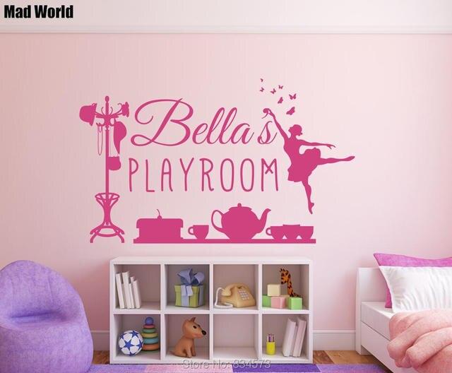 monde fou personnalis nom personnalis fille salle de jeux mur art autocollants sticker dcoration amovible
