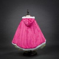 Vendita Calda Costume di Halloween per I Bambini Della Principessa Hot Pink and Blue Cape Halloween Ragazze Elsa Sofia Rapunzel Capo per il Vestito