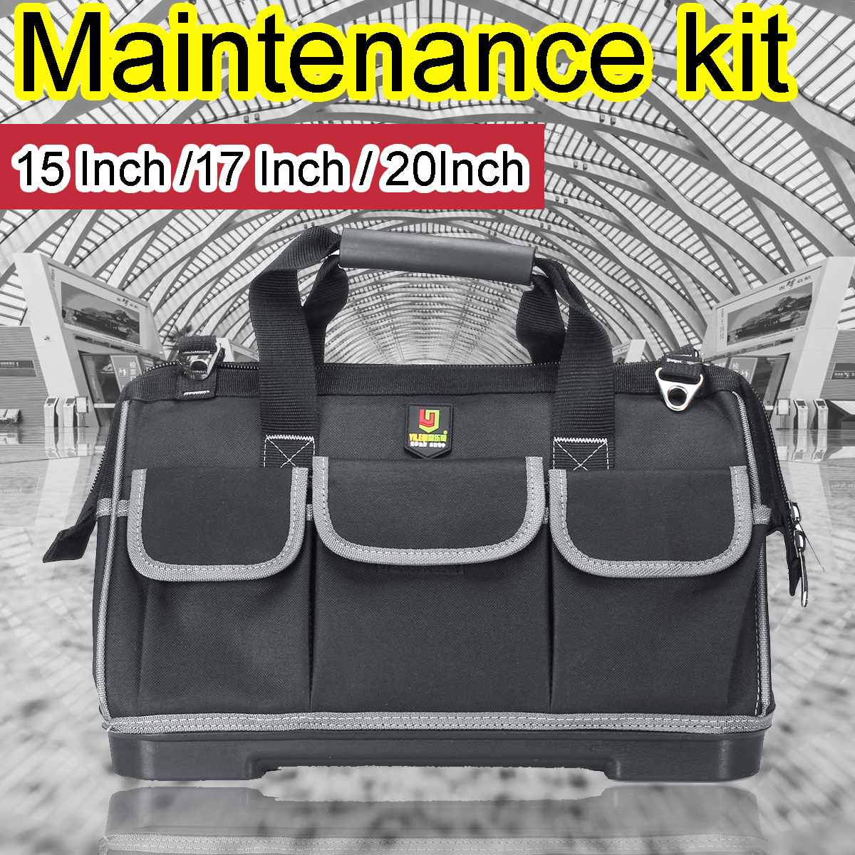 New 20 17 15inch Multi Purpose Tool Bag Shoulder Strap 16 Pockets Water Resist Heavy Duty Large Capacity Oxford Work Bag