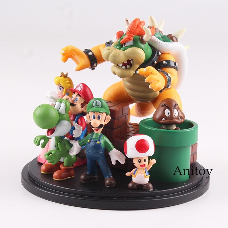 Super Mario Bros Bowser Принцесса Персик Йоши Луиджи Жаба Goomba ПВХ фигурку игрушки Модель 3 ~ 10 см