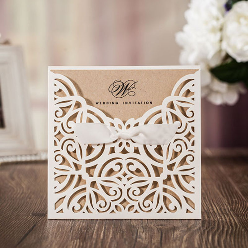 25pcs White Laser Cut Wedding Invitations Card Greeting Cards With Ribbon For Wedding Decoration Birthday Event Party Supplies 1 design laser cut white elegant pattern west cowboy style vintage wedding invitations card kit blank paper printing invitation