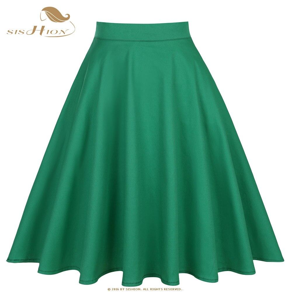 SISHION Green Skirt Retro Summer Skirts Womens 2018 High Waist Vintage Elegant A-Line Knee Length Cotton Women Skirt S-XXL