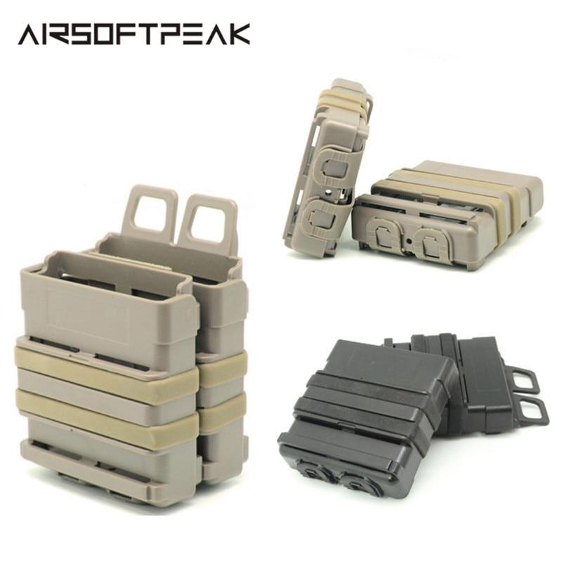 FMA Airsoft puska 5.56 Mag M4 Magazin Gyors csatolás Taktikai tasak Molle rendszermodul kombinációja Két tartó gyors húzótasakok