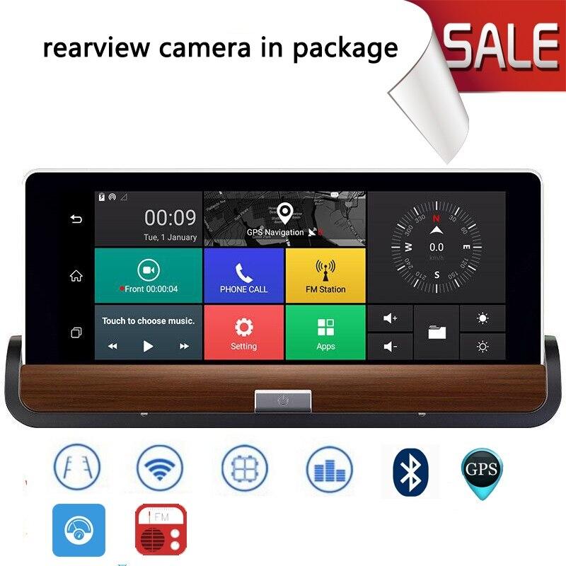 imágenes para Nueva 3G 7 pulgadas Android 5.0 Coche Grabadora de Navegadores GPS Bluetooth de navegación de Automóviles DVR MTK8382 Quad Core Envío de Doble mapa cámara