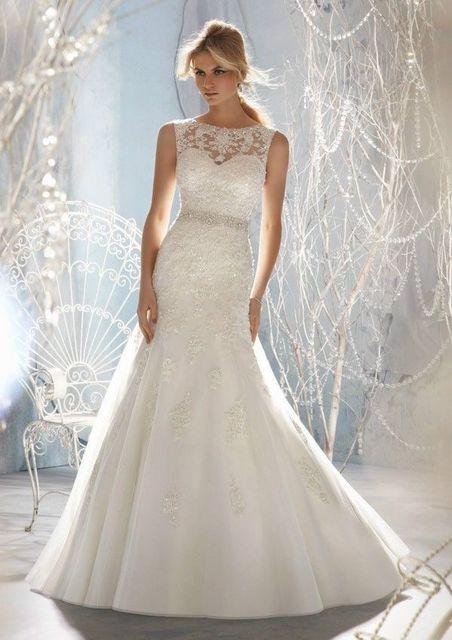 In Stock Scoop Neck Applique Sheer Top Fashion Mermaid Wedding Dress ...