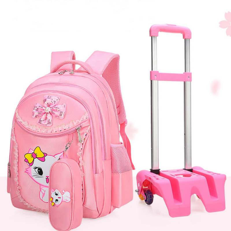 New Removable Children School Bags with 2/6 Wheels for Girls Trolley Backpack Kids Wheeled Bag Book bag travel luggage MochilaNew Removable Children School Bags with 2/6 Wheels for Girls Trolley Backpack Kids Wheeled Bag Book bag travel luggage Mochila