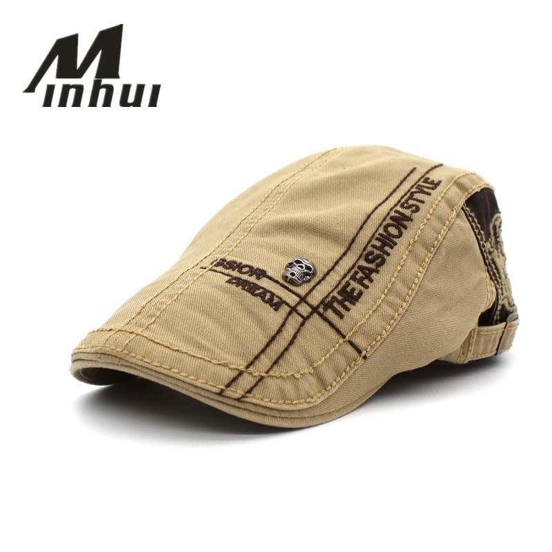 Minhui Fashion Beret Cap Gorras de algodón para hombres y mujeres Viseras Sombrero de sol Gorras Planas Gorras planas Boinas ajustables 5Colores