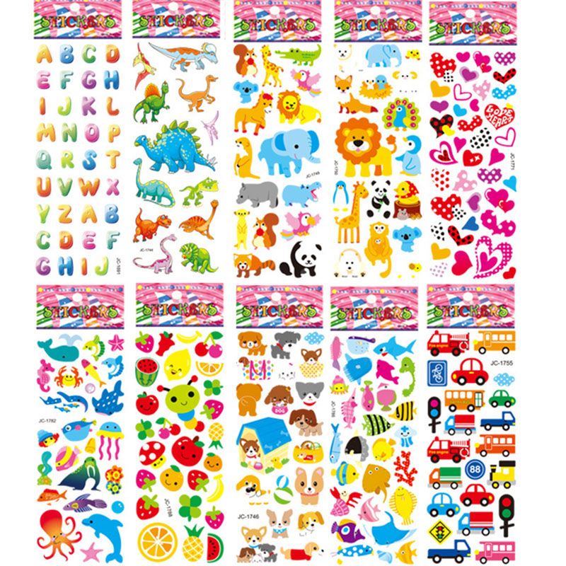 10 Sheets Different DIY 3D Cartoon Stickers Set Decorate Sticker Paper Educational  Toys Gifts For Children Kids Boys Girl