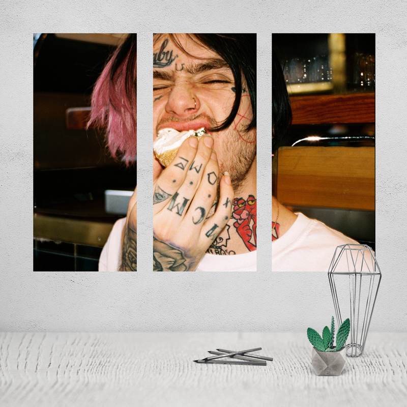 Lil Peep Painting Photo Canvas Poster Prints Modern Abstract on Black White Love