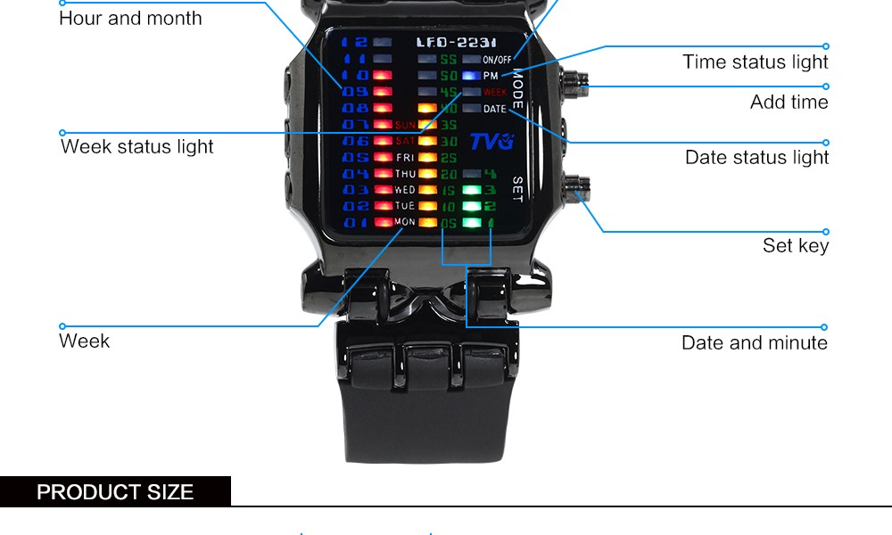Luxury Brand TVG Watches Men Fashion Rubber Strap LED Digital Watch Men Waterproof Sports Military Watches Relogios Masculino 4
