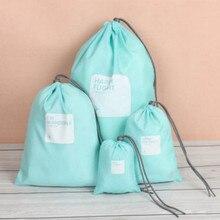4Pcs/set Travel Waterproof Drawstring Pouch Small Bag Clothes Tidy Organizer Packing Cube Drawstring Bag