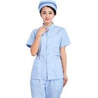 [SET] Women's Fashion Medical Scrubs SET(top+pant)/ Nursing Uniform / short Sleeve Stand Collar Tops + Pants