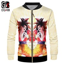 OGKB Anime Zipper Jackets Men's Funny Print Super Saiyan 4 3d Jacket Anime Goku Coats Man Brand Sportswears Cartoon Oversize 6xl(China)
