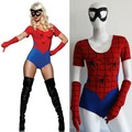 Adult Women Halloween Spiderman Spider Girl Superhero Cosplay Costume Bodysuit +Eye Mask+ Gloves