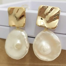 FREE SHIPPING 100% nature freshwater pearl earring,925 silver hook,AAA round Pearl,16-18 mm coin shape baroque цены онлайн