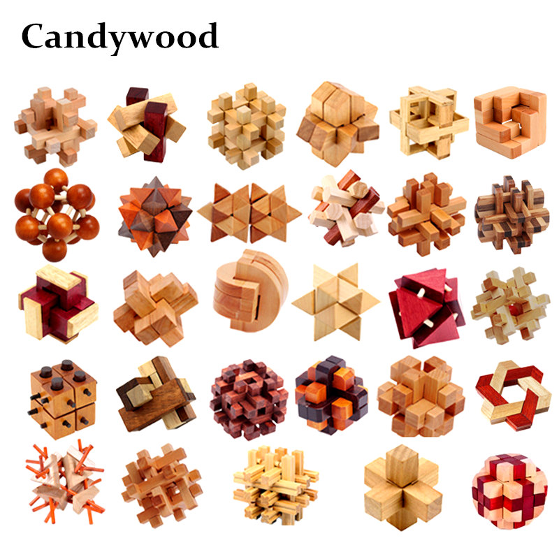 Candywood Children Wooden Luban Lock 3D Wooden Educational <font><b>puzzle</b></font> For Adults Kids Magic Cube Style Brain Teaser toys