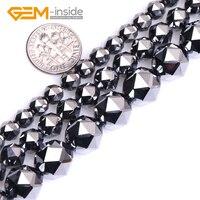 Glanz Terahertz Polygonal Schwarz Facettiert Runde Natürlichen Hämatit Perlen Für Schmuck Machen DIY 15 Zoll Strang edelstein-inside