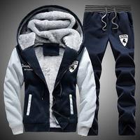 Winter Tracksuits Men Set Thick Fleece Hoodies+Pants Suit Hooded Plus Size Sweatshirt Sportswear Set Male Hoodie Sporting Suits