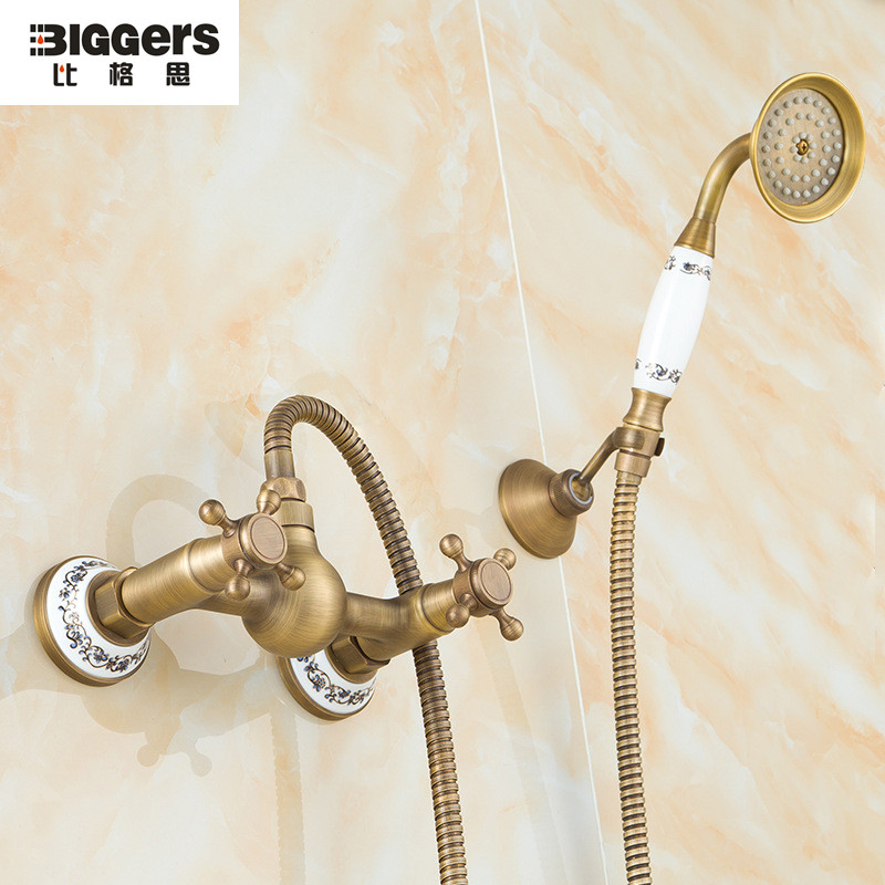 Free Shipping,European Antique Copper Ceramic Shower Faucet Set Chinese  Style Ceramic Bathroom Shower Faucet Shower Head 8810B In Shower Faucets  From Home ...