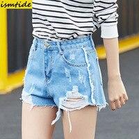 50 S Vintage Ripped Hole Fringe Blue Denim Shorts Women Casual Pocket Tassel Jeans Shorts 2017