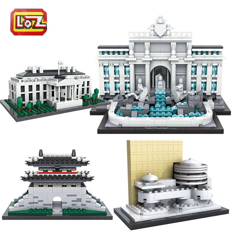 LOZ 2016 New Mini Blocks Architecture White House Juguetes Trevi Fountain Toys Educational Christmas Gift for Children 1005-1015 loz world famous classic architecture assembe mini building blocks educational model toys birthday gift for child eiffel tower