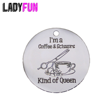 Ladyfun Stainless Steel Queen Charms-I'm a Coffee & Scissors Kind Of Queen Charm for jewelry making 3 of a kind