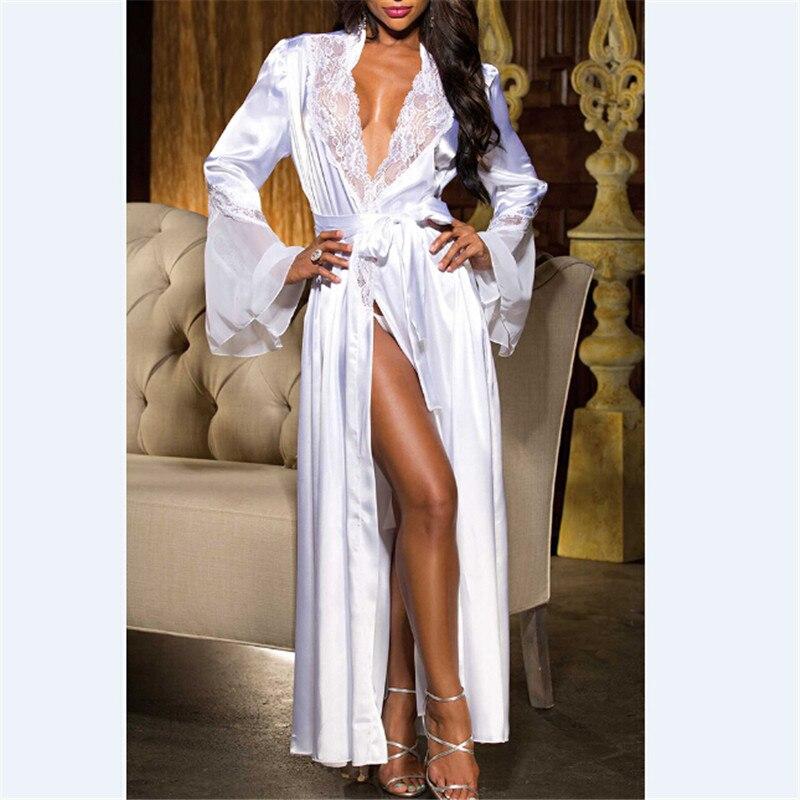 Women Sexy lace V neck Silk Satin Long Wedding Bride Bridesmaid Robe Kimono Robe Feminino Bath Robe Peignoir Femme Bathrobe