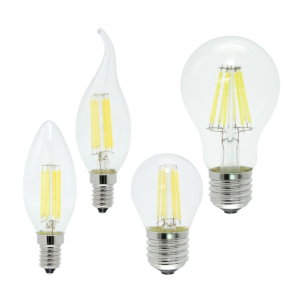 2W 4W 6W 8W Ampoule E27 E14 AC 220V LED Filament Dimmable Bulb Retro Vintage Glass Bombillas Edison Lamp Candle Light Chandelier