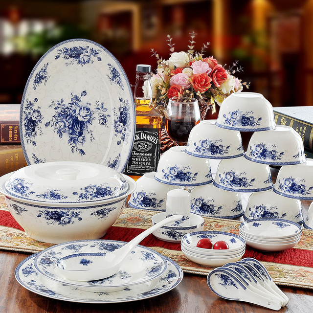56 pcs set Blue u0026 White Ceramic Porcelain Dinnerware Set Tableware Restaurant Ware & 56 pcs set Blue u0026 White Ceramic Porcelain Dinnerware Set Tableware ...