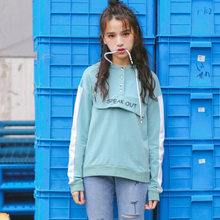 Women Sweatshirts Hoodies Letter Printing Hooded Long Sleeve Loose Female Korean Fashion Panelled Warm Pink/black/blue