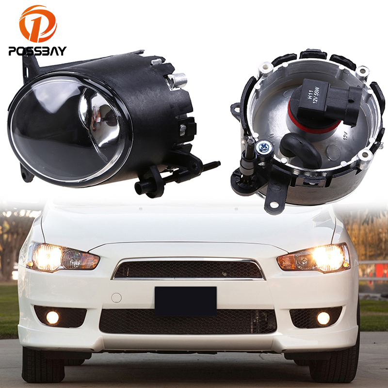 POSSBAY Auto Car Fog Lights Lamp Assembly Daytime Running Light for Mitsubishi Lancer 2008-2014 H11 55W Halogen Bulbs 2pcs auto right left fog light lamp car styling h11 halogen light 12v 55w bulb assembly for citroen c4 coupe la 2004 2008 2010