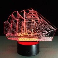 Creative 3D Zeilboot schip Nachtlampje Led Tafel bureaulamp Sfeer kerstversiering voor Kind Kids Baby Slaapkamer Thuis
