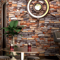 3D Stereo Embossed Imitation Stone Wallpaper Restaurant Cafe Living Room Backdrop Waterproof Thickened PVC Wall Paper