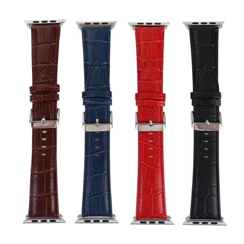 Luxury Crocodile Pattern Leather Wrist Watch Band Strap Belt for iwatch Apple Watch 38 42mm Black