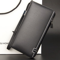 Designer Men Wallets Famous Brand Men Long Wallet Clutch Male Money Purses Wrist Strap Wallet Big