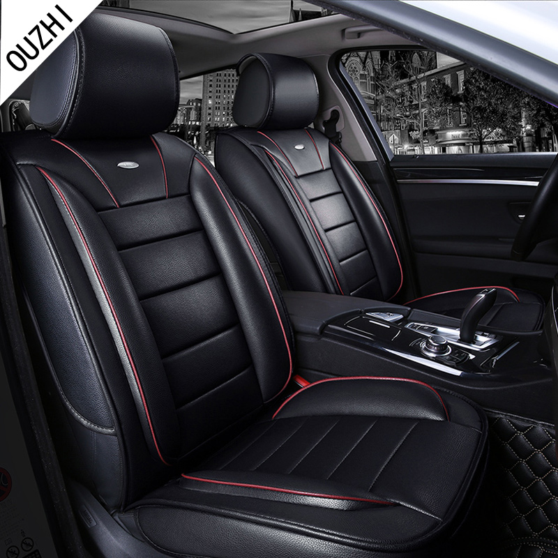 Brown Beige Red Black Brand Designer Luxury Pu Leather Car Seat Cover Front Rear Full For Universal Four Seasons