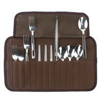 12 Pcs/Set Portable Stainless Steel Chopsticks Fork Spoon Outdoor Travel Camping Cutlery Tools Tableware With Storage Bag