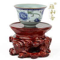 Jade redwood carving stone base crafts decoration teapot carving base small wood round single the base