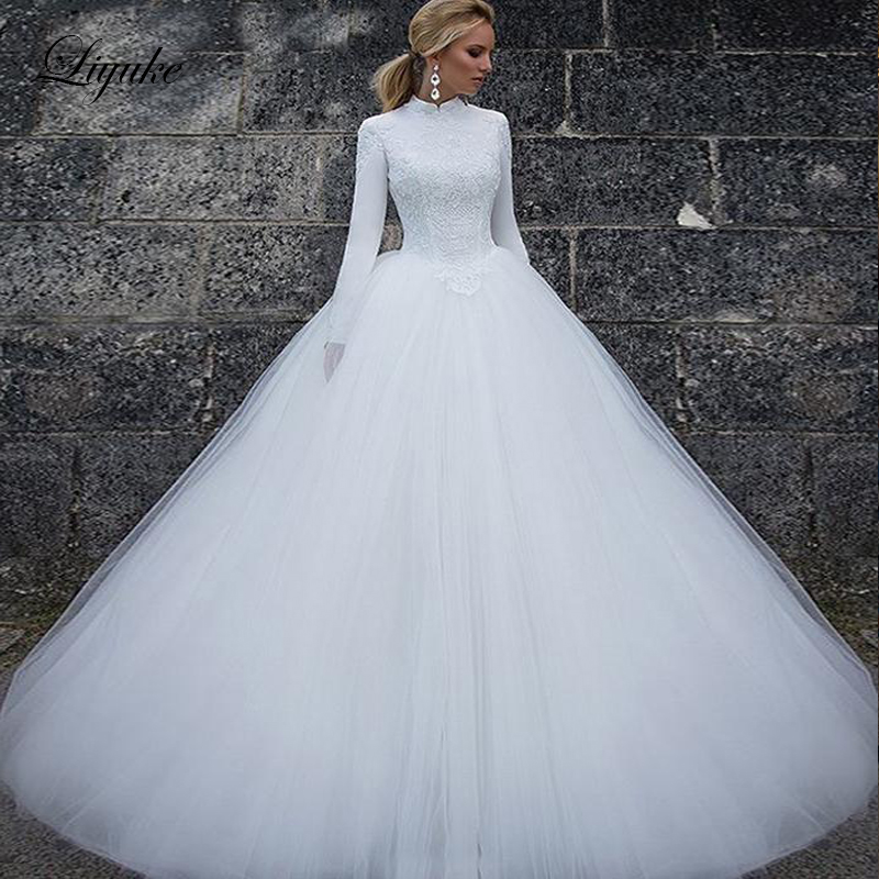 Liyuke High Neckline Lush Tulle Ball Gown Wedding Dress Satin Fabrics Zipper Back Closure Princess Wedding Gown New Arrival