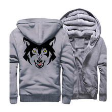 Wolf Hoodies Men 2019 Fleece Gray Animal Hooded Casual Loose Fit Sweatshirts Mens Hip Hop Tracksuit Outwear Coat For Male CM01