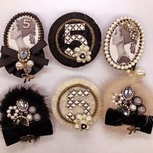 Nuovo arrivo coreano moda di lusso perla fiore 5 grandi corpetto nero spilla per le donne abito distintivo spille/spille/brosche
