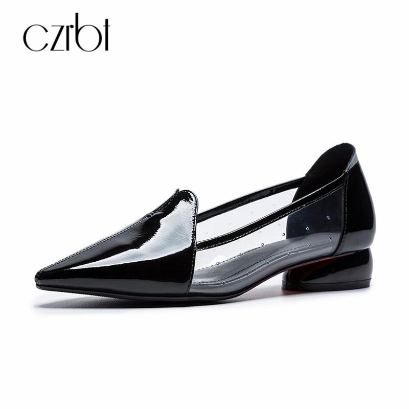 CZRBT/Летняя женская обувь на плоской подошве; повседневные Лоферы без застежки; женская обувь с острым носком; прозрачные босоножки из пвх; 2018; женская кожаная обувь