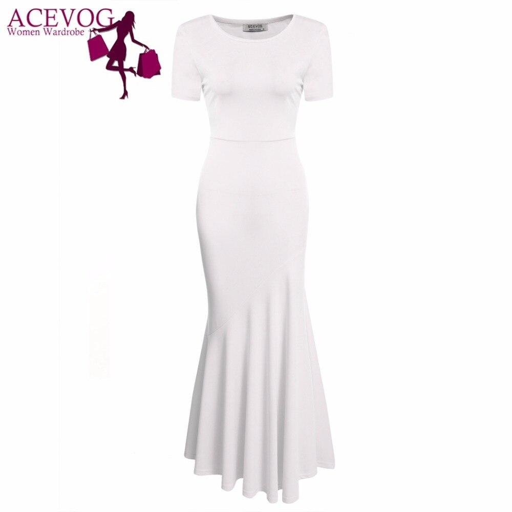 ACEVOG Frauen Vintage Kleid Meerjungfrau Schwanz Kurzarm Oansatz - Damenbekleidung - Foto 2