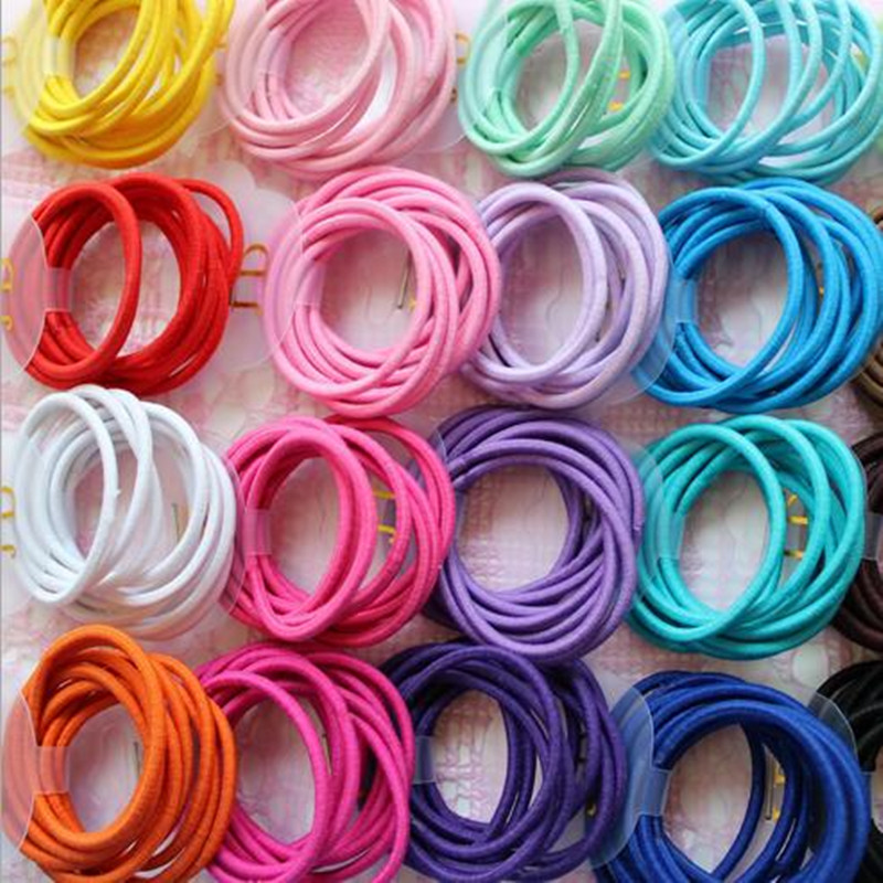 Wholesale 50 Pcs Elastic Hair Band Candy Color Headband Solid Kids Hair Ropes Ponytail Holders Rubber Hair Accessories for Girls 12pc set elastic hair rubber band children hair unicorn headband kids hair accessories gril hair band set cute unicorn cartoon